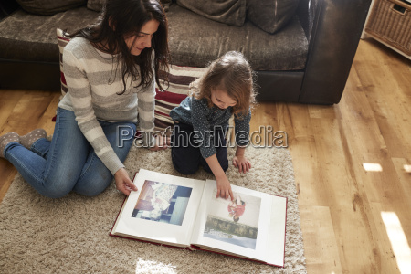 mother and daughter at home looking