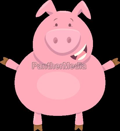 cute pig farm animal character