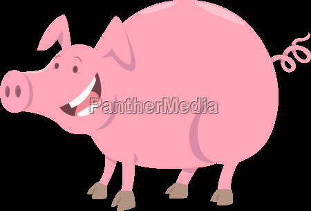 funny pig farm animal character