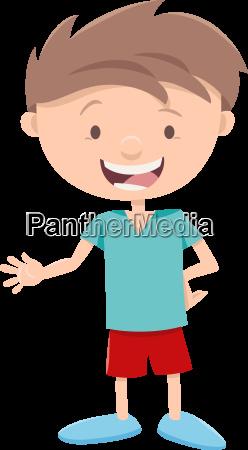 happy little boy character