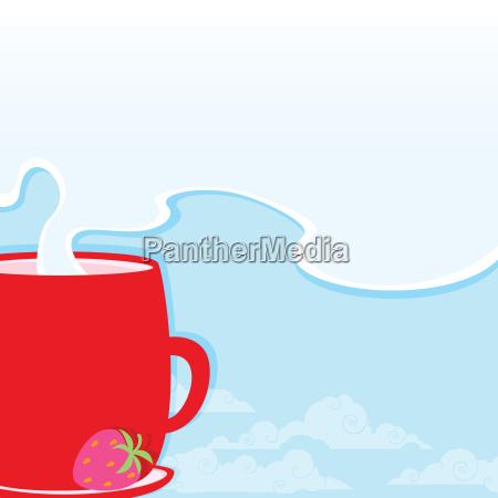 morgendliche tasse mit einem heissen getraenk