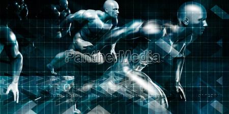 men running in technology background