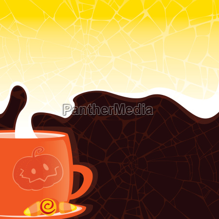 halloween stil tasse mit einem heissen