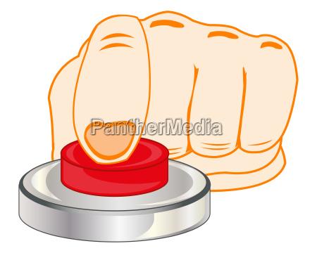 finger auf rotem knopf