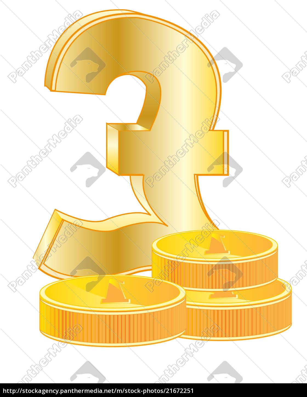 zeichen, pfund, sterling, und, münzen - 21672251