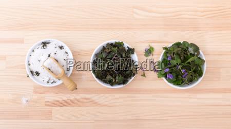 porcelain bowls with herbal salt fresh