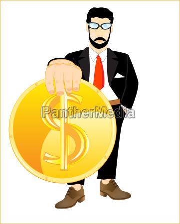 dollar in hand