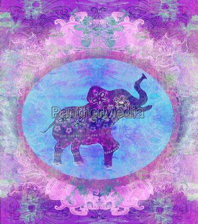 vintage indische verzierung mit einem elefanten