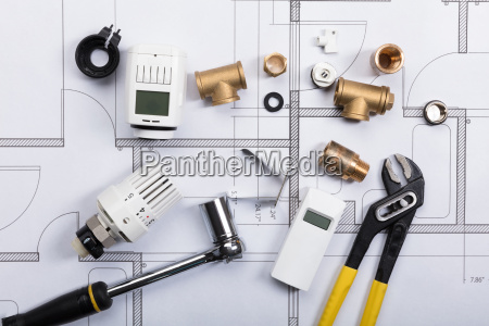 plumbing fixtures on blueprint