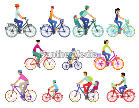 cyclist group illustration isolated