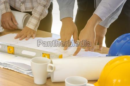 business teamarbeit auf blaupause