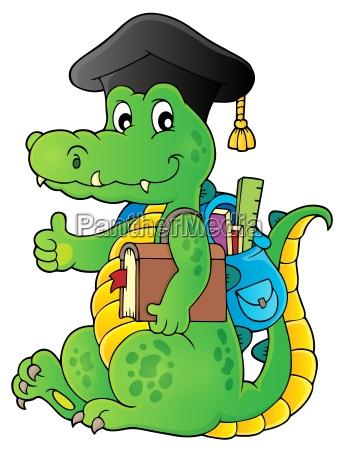 school theme crocodile image 1