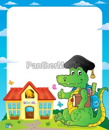 frame with school theme crocodile