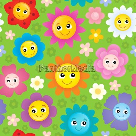 happy flower heads seamless background 1