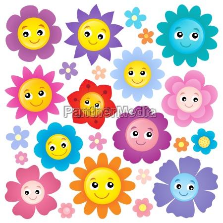 happy flower heads theme set 1