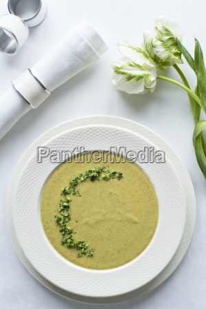 broccoli cream soup with fresh parsley