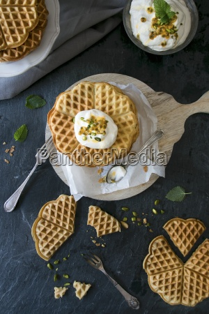 gluten free waffles with passion fruit