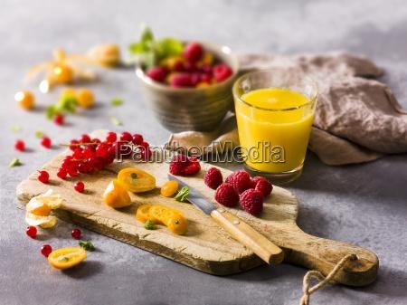 fresh fruit on a chopping board