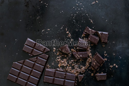 whole and chopped squares of chocolate