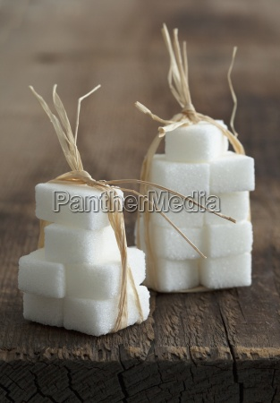 sugar cubes tied together with raffia