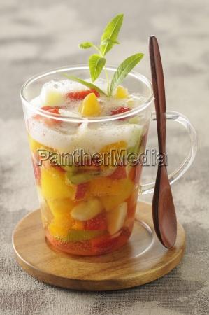 fruit soup with apple foam