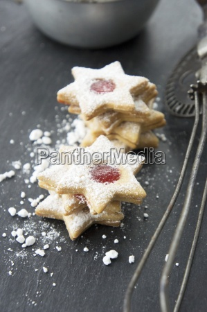star shaped jam cookies with icing