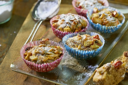 apple muffins with raisins in colorful