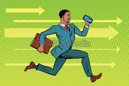 businessman with a smartphone running fast