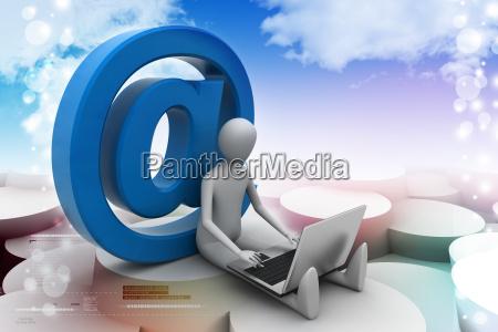 3d person mit e mail symbol