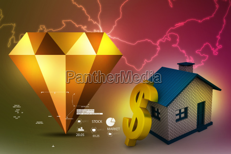real estate concept with golden dollar