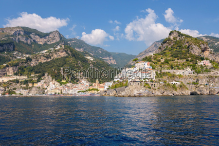 view of amalfi town from the