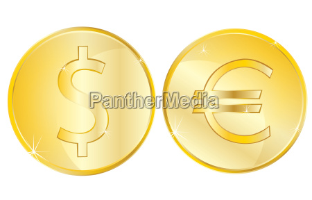 two coins on white background