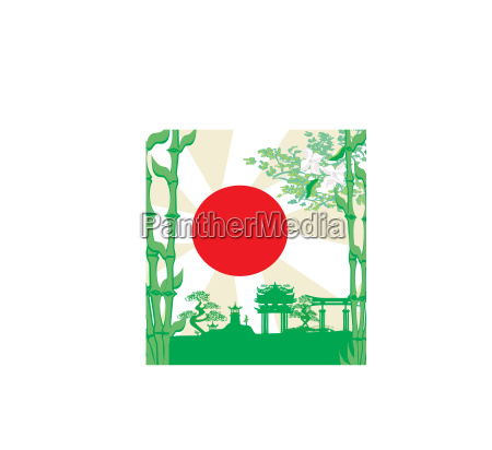 card with asian buildings