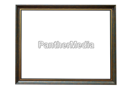green wooden picture frame on white