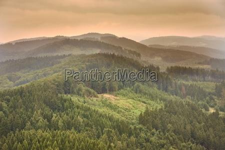 hilly landscape at dusk