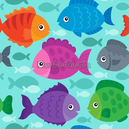 seamless background stylized fishes 1