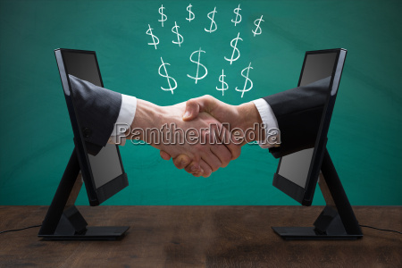 two men shaking hands from computer