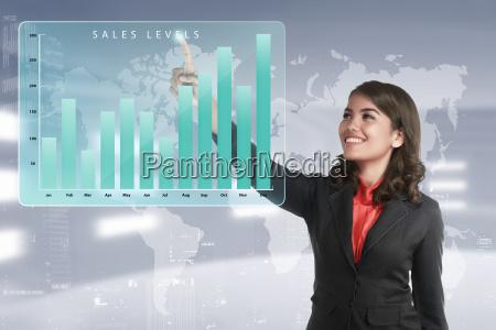 asian business frau beruehren marketing umsatz