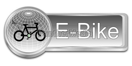 silberner e bike button 3d illustration