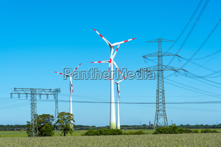 wind turbines and power lines in