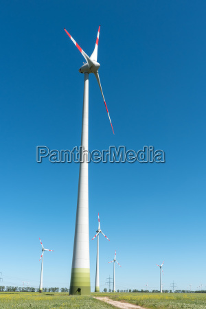wind turbines in front of blue