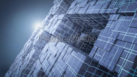 light shining above futuristic cubes 3d
