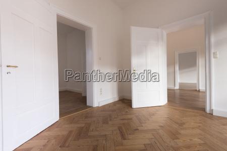 spacious empty flat with herringbone parquet