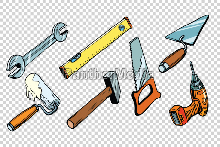 set reparatur tools isoliert hintergrund
