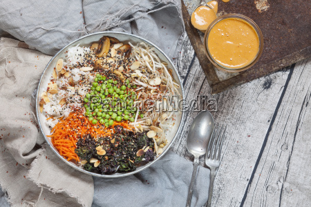 buddha bowl of kalette carrot mung