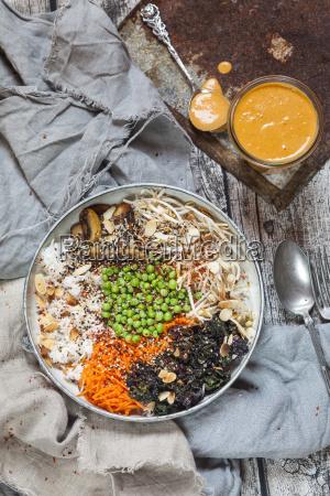 buddha bowl of kalette carrot mung