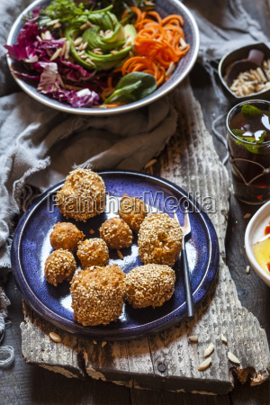millet falafel rainbow salad bowl and