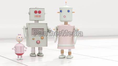 roboterfamilie wiedergabe 3d