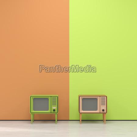 green and orange television in retro