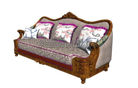 divan mit polster und kissen freigestellt